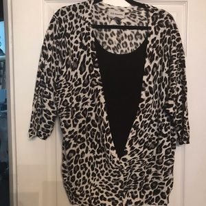 Cheetah print cardigan sweater with built-in tank